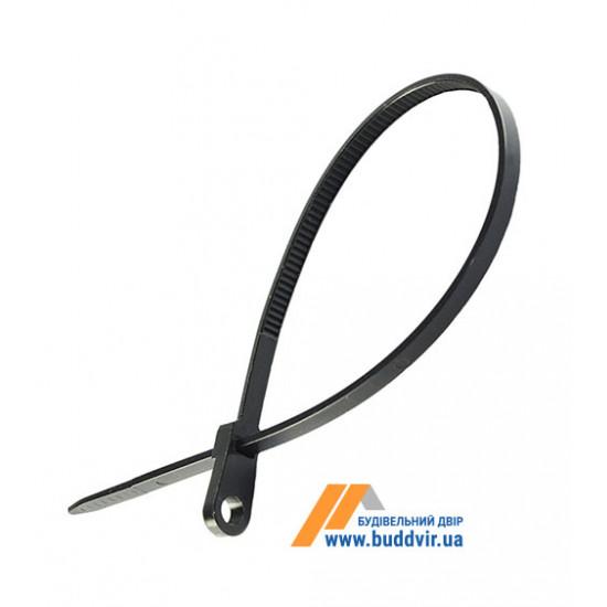 Кабельная стяжка с монтажным кольцом Wave черная, 3,5*200 мм (100 шт)