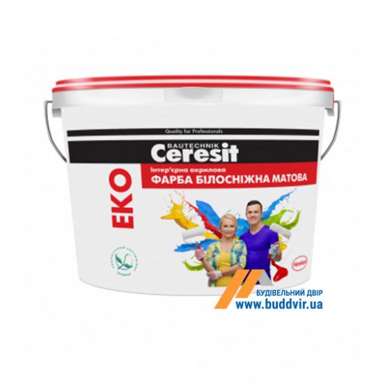 Интерьерная акриловая краска белоснежно матовая Церезит (Ceresit) Eko, 14 кг