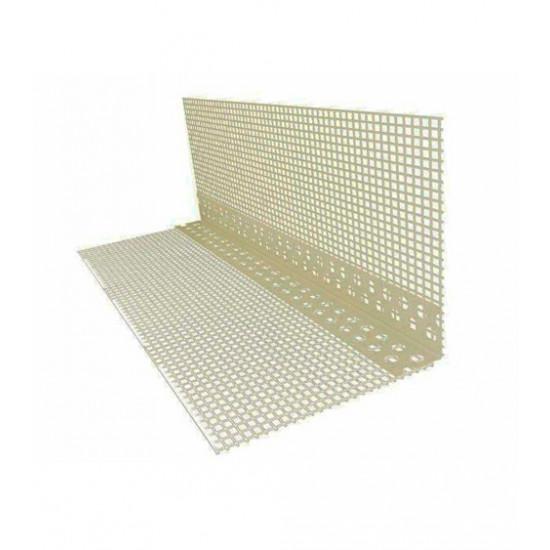 Уголок пластиковый перфорированный с сеткой 7*7, 2,5 м