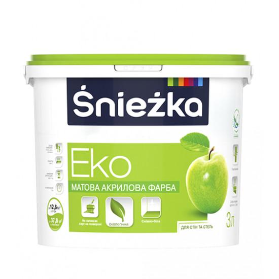 Интерьерная акриловая краска матовая Снежка (Sniezka) ЕКО, 4,2 кг