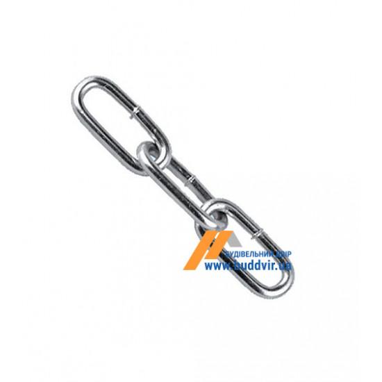 Цепь длиннозвенная Металвис (Metalvis) цинк белый, 6 мм (1 м)