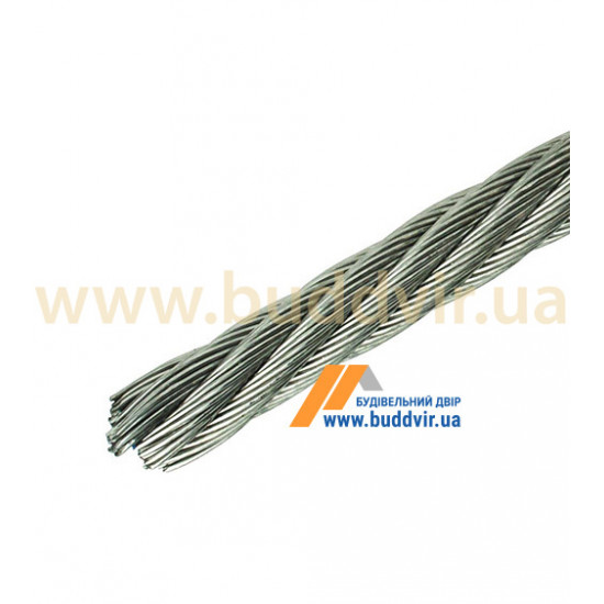 Трос 6х7+1FC Металвис (Metalvis) цинк белый, 4 мм (1 м)