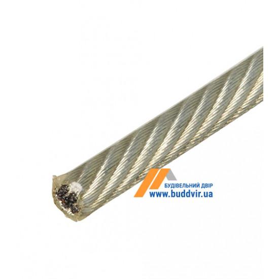 Трос 6х7+1FC Металвис (Metalvis) ПВХ прозрачный, 3/4 мм (1 м)