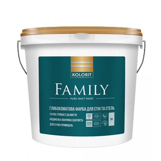 Интерьерная акриловая краска матовая Колорит (Kolorit) Family (Premium 3), 9 л