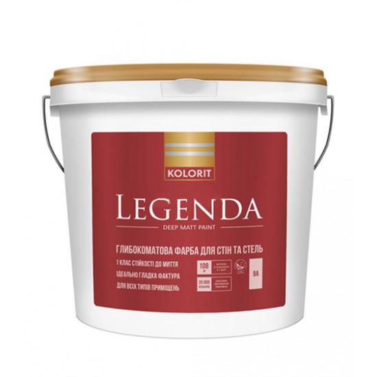 Интерьерная акриловая краска матовая Колорит (Kolorit) Legenda (Luxe), 9 л