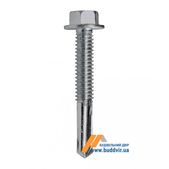 Винт кровельный по металлу усиленный, с пресс-шайбой, цинк белый, 5,5*75 мм (1 шт)