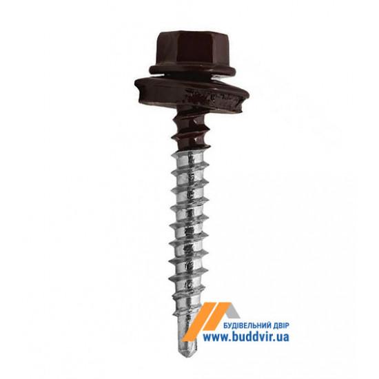 Винт кровельный по дереву, RAL 8019 темный шоколад, 4,8*35 мм (1 шт)