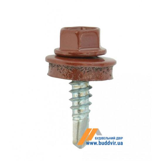 Винт кровельный по металлу, RAL 3009 гнилая вишня, 5,5*25 мм (1 шт)