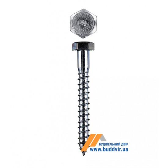 Винт по дереву DIN571 шестигранный, цинк белый, 10*120 мм (1 шт)