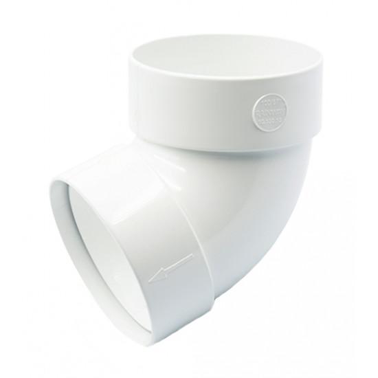 Отвод двохмуфтовый (колено) RainWay 90, угол 67° диаметр 75 мм, белый