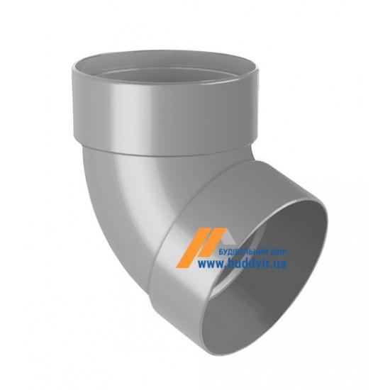 Отвод двохмуфтовый (колено) RainWay 90, угол 67° диаметр 75 мм, серый