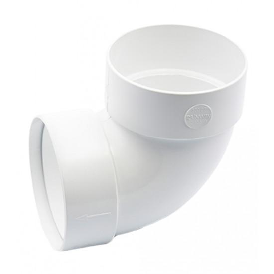 Отвод двохмуфтовый (колено) RainWay 90, угол 87° диаметр 75 мм, белый