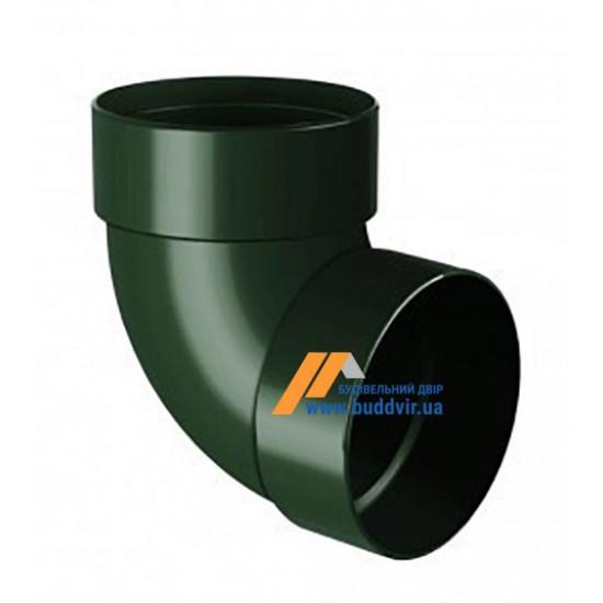 Отвод двохмуфтовый (колено) RainWay 90, угол 87° диаметр 75 мм, зеленый