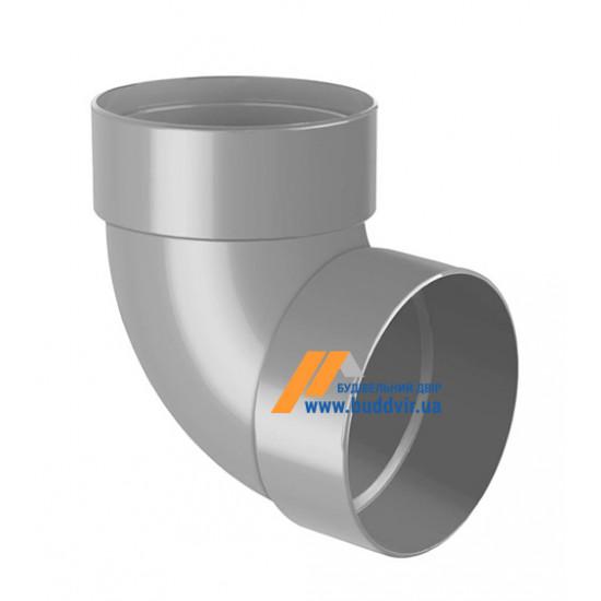 Отвод двохмуфтовый (колено) RainWay 90, угол 87° диаметр 75 мм, серый