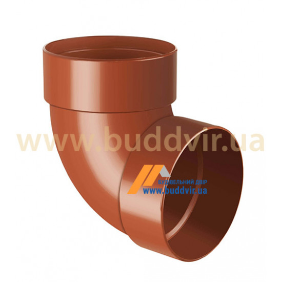 Отвод двохмуфтовый (колено) RainWay 90, угол 87° диаметр 75 мм, кирпичный