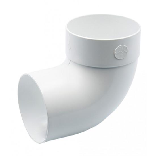 Отвод одномуфтовый (колено) RainWay 90, угол 87° диаметр 75 мм, белый