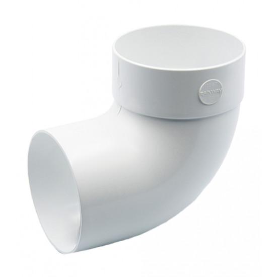 Отвод одномуфтовый (колено) RainWay 130, угол 87° диаметр 100 мм, белый