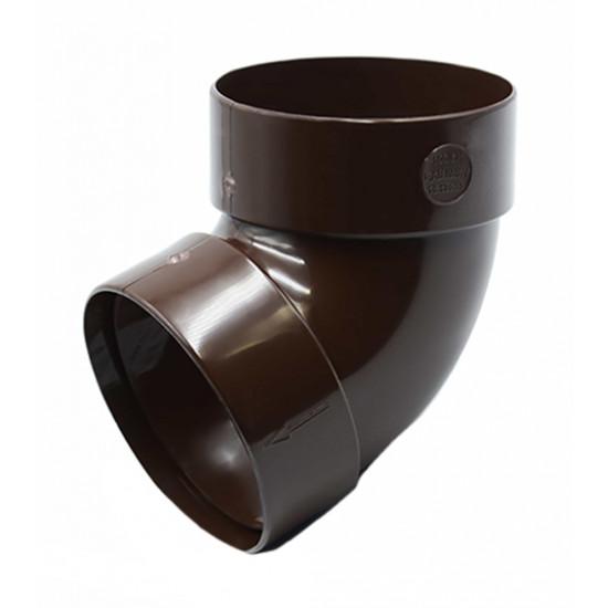 Отвод двохмуфтовый (колено) RainWay 130, угол 67° диаметр 100 мм, коричневый