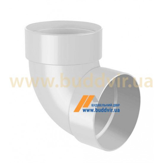 Отвод двохмуфтовый (колено) RainWay 130, угол 87° диаметр 100 мм, белый