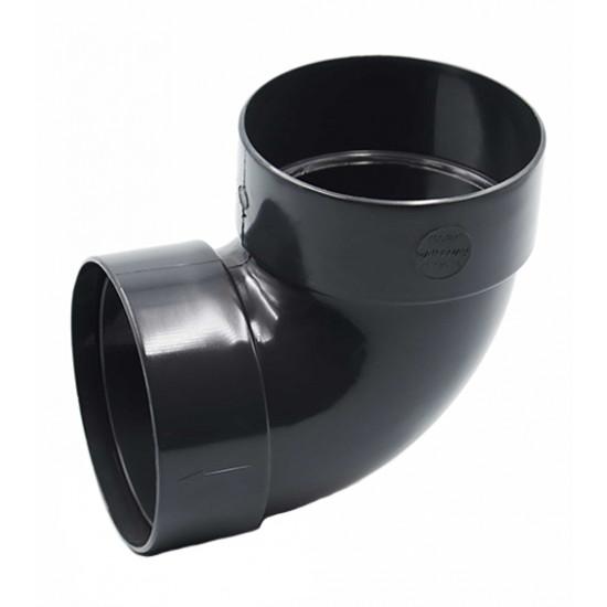 Отвод двохмуфтовый (колено) RainWay 130, угол 87° диаметр 100 мм, графитовый