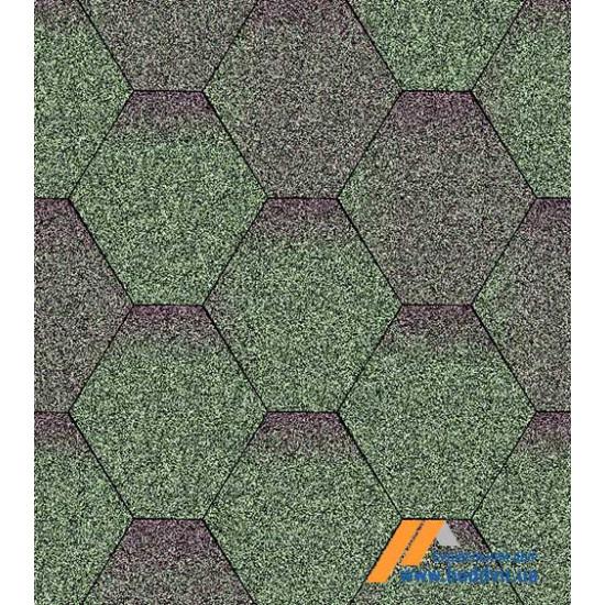 Гибкая черепица АКВАИЗОЛ (AQUAIZOL) Мозаика Зеленая микс 3 кв.м.