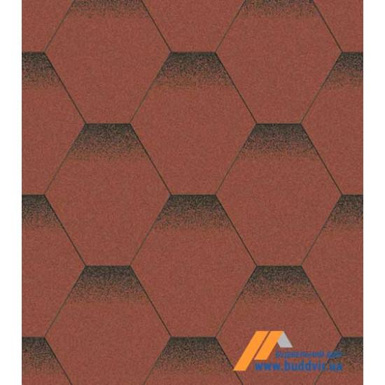Гибкая черепица АКВАИЗОЛ (AQUAIZOL) Мозаика Красный мак 3 кв.м.