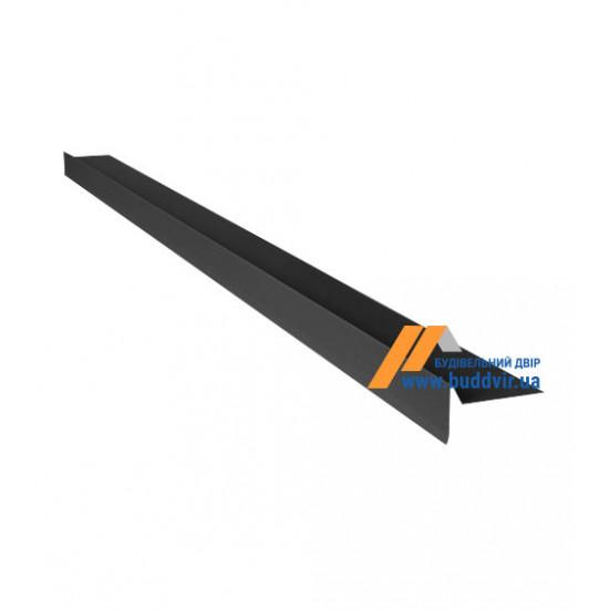 Фронтонный капельник  №1 матовый полиэстер RAL7024 (графит), 2000 мм