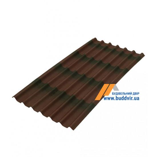 Черепица лист коричневый Ондулин (Ondulin) 1950х950 мм