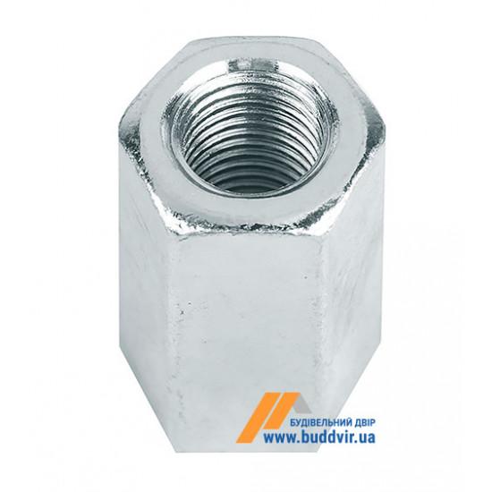 Гайка удлиненная DIN6334, цинк белый, М6*18 мм